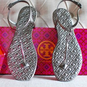 Tory Burch Marion Metallic Thong Sandals